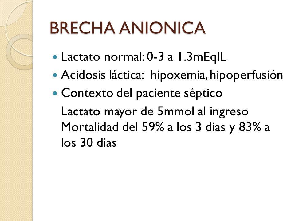BRECHA ANIONICA Lactato normal: 0-3 a 1.3mEqIL