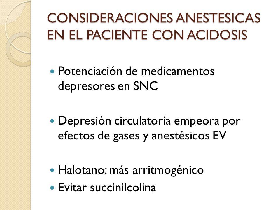 CONSIDERACIONES ANESTESICAS EN EL PACIENTE CON ACIDOSIS
