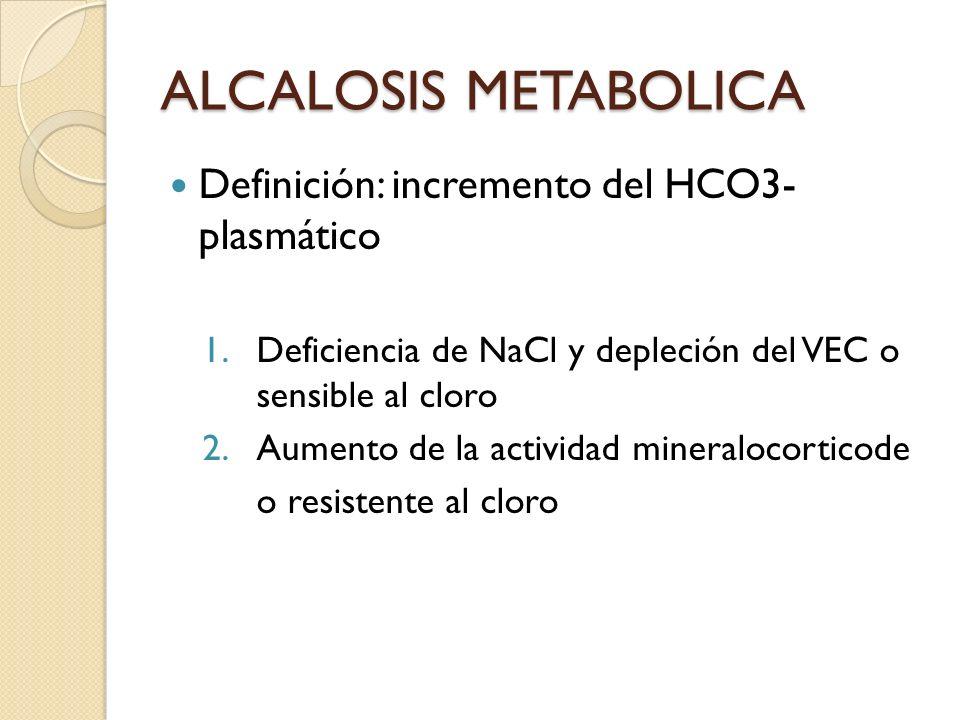 ALCALOSIS METABOLICA Definición: incremento del HCO3- plasmático