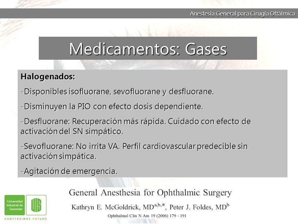 Medicamentos: Gases Halogenados: