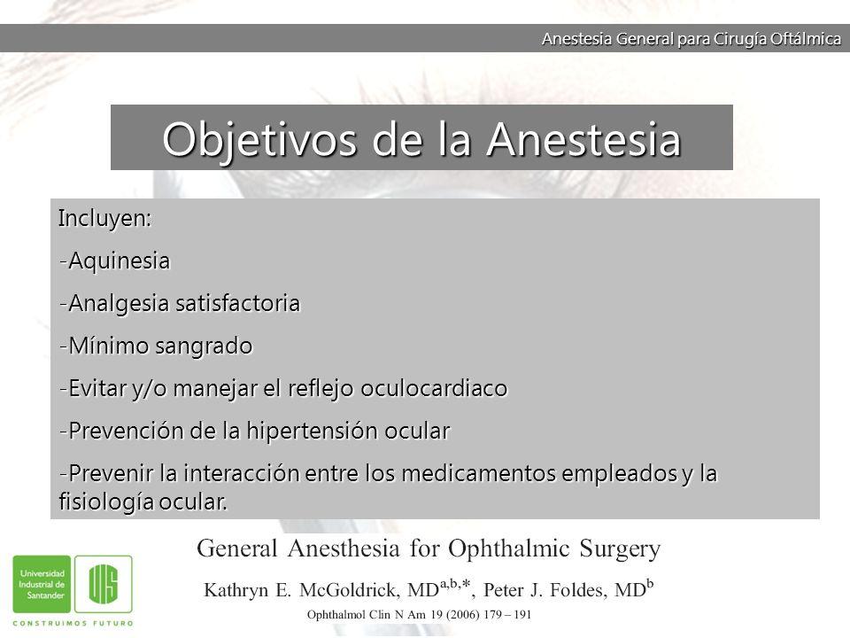 Objetivos de la Anestesia