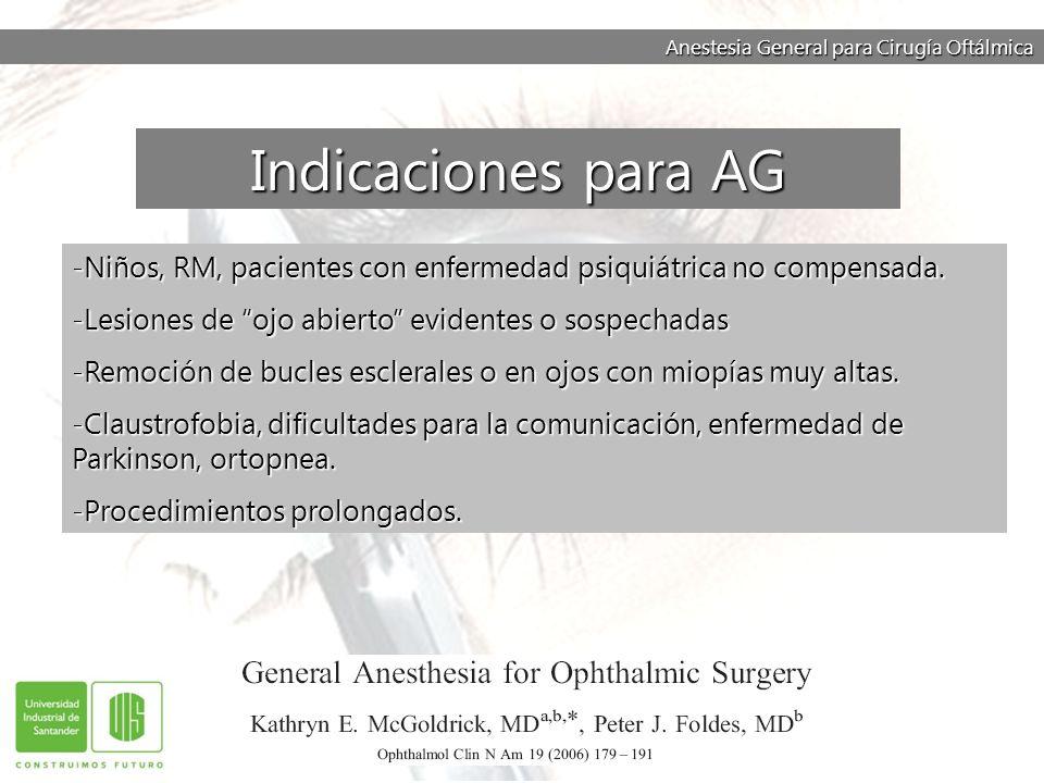 Anestesia General para Cirugía Oftálmica