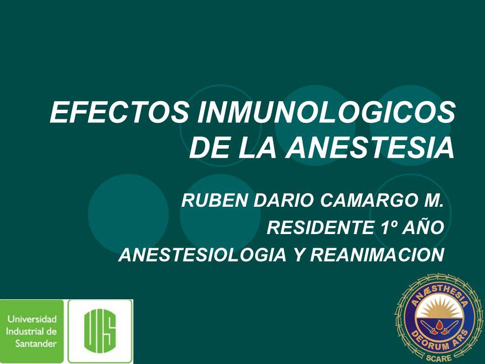 EFECTOS INMUNOLOGICOS DE LA ANESTESIA