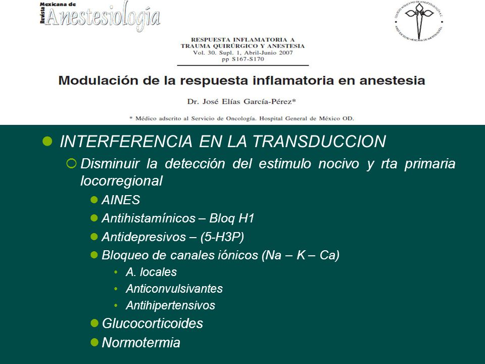 INTERFERENCIA EN LA TRANSDUCCION