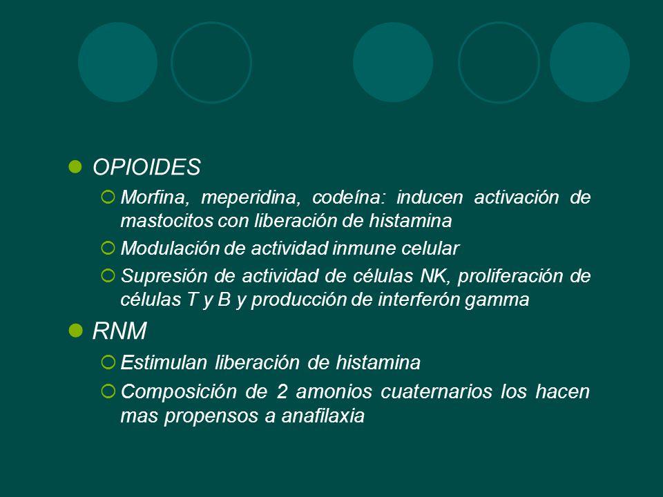 RNM OPIOIDES Estimulan liberación de histamina
