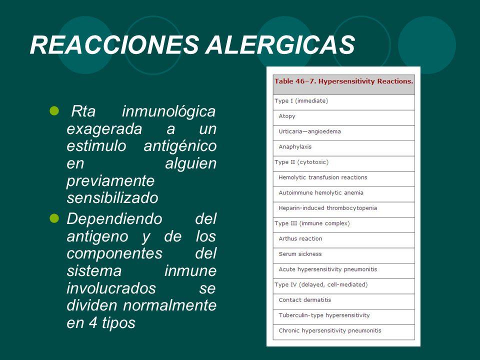 REACCIONES ALERGICAS Rta inmunológica exagerada a un estimulo antigénico en alguien previamente sensibilizado.