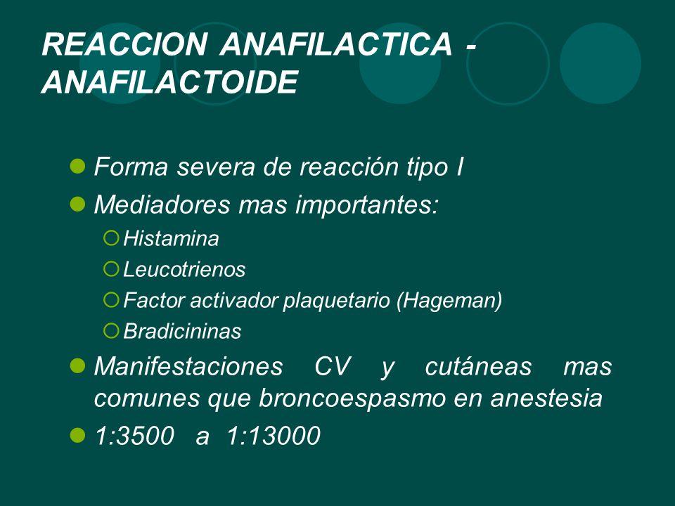 REACCION ANAFILACTICA - ANAFILACTOIDE