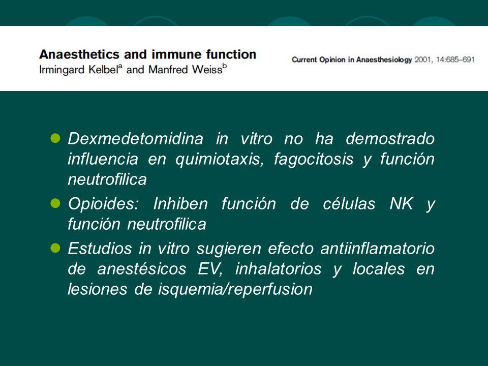 Dexmedetomidina in vitro no ha demostrado influencia en quimiotaxis, fagocitosis y función neutrofilica
