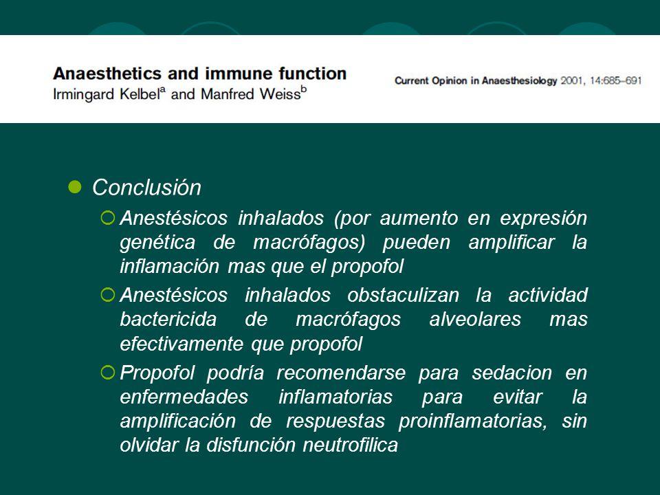 Conclusión Anestésicos inhalados (por aumento en expresión genética de macrófagos) pueden amplificar la inflamación mas que el propofol.