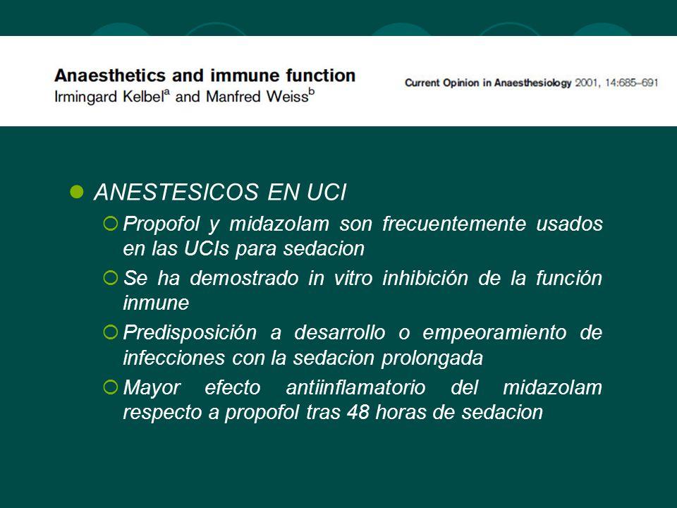 ANESTESICOS EN UCIPropofol y midazolam son frecuentemente usados en las UCIs para sedacion.