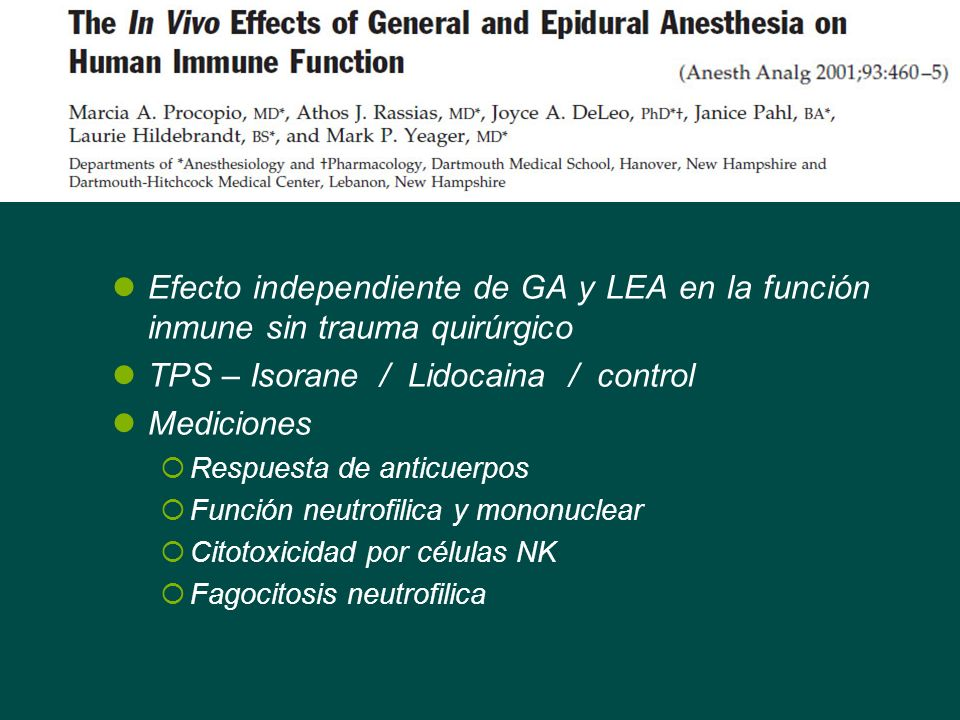 TPS – Isorane / Lidocaina / control Mediciones