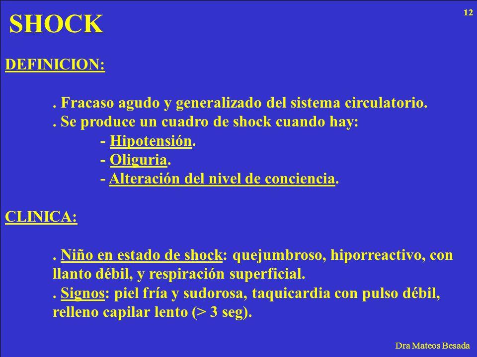 SHOCK 12. DEFINICION: . Fracaso agudo y generalizado del sistema circulatorio. . Se produce un cuadro de shock cuando hay: