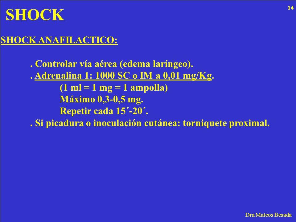 SHOCK SHOCK ANAFILACTICO: . Controlar vía aérea (edema laríngeo).