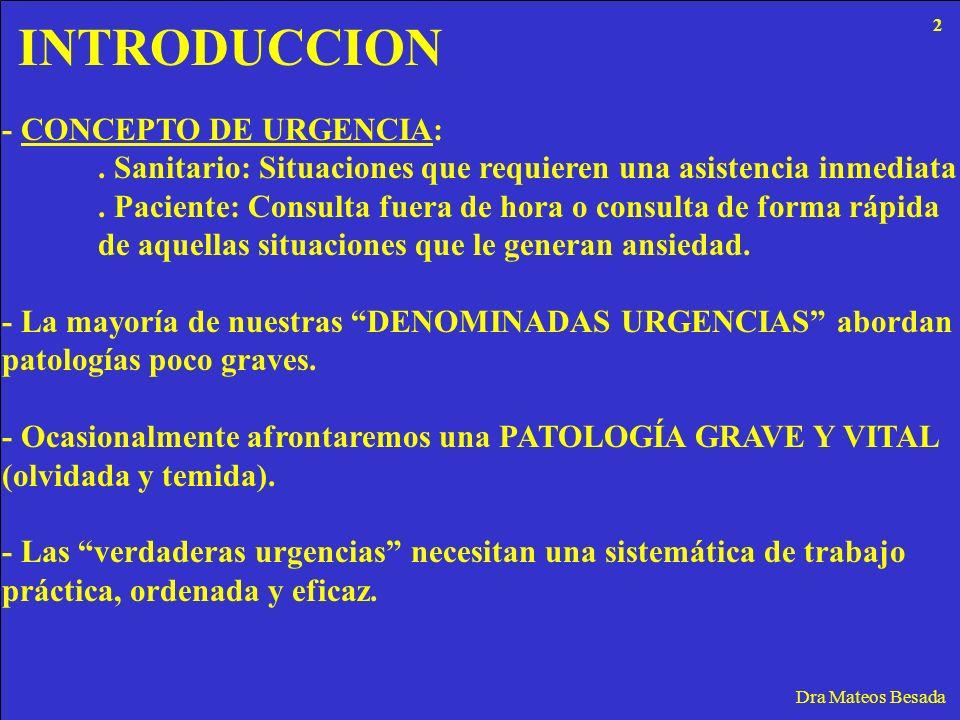 INTRODUCCION - CONCEPTO DE URGENCIA: