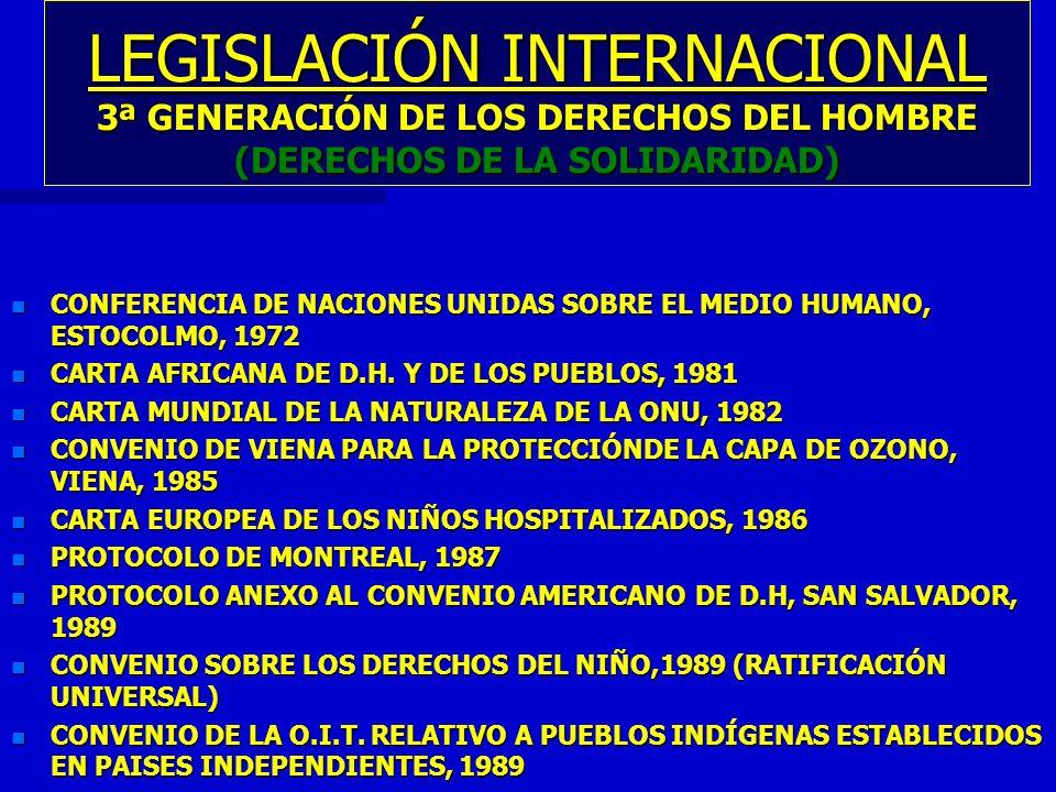LEGISLACIÓN INTERNACIONAL 3ª GENERACIÓN DE LOS DERECHOS DEL HOMBRE (DERECHOS DE LA SOLIDARIDAD)