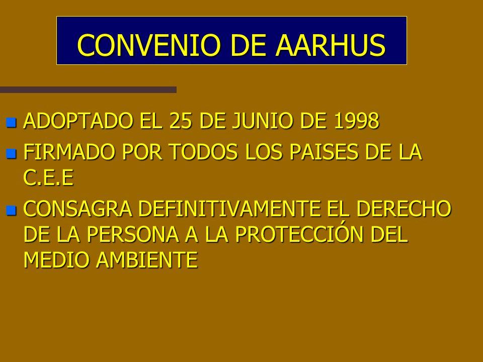 CONVENIO DE AARHUS ADOPTADO EL 25 DE JUNIO DE 1998