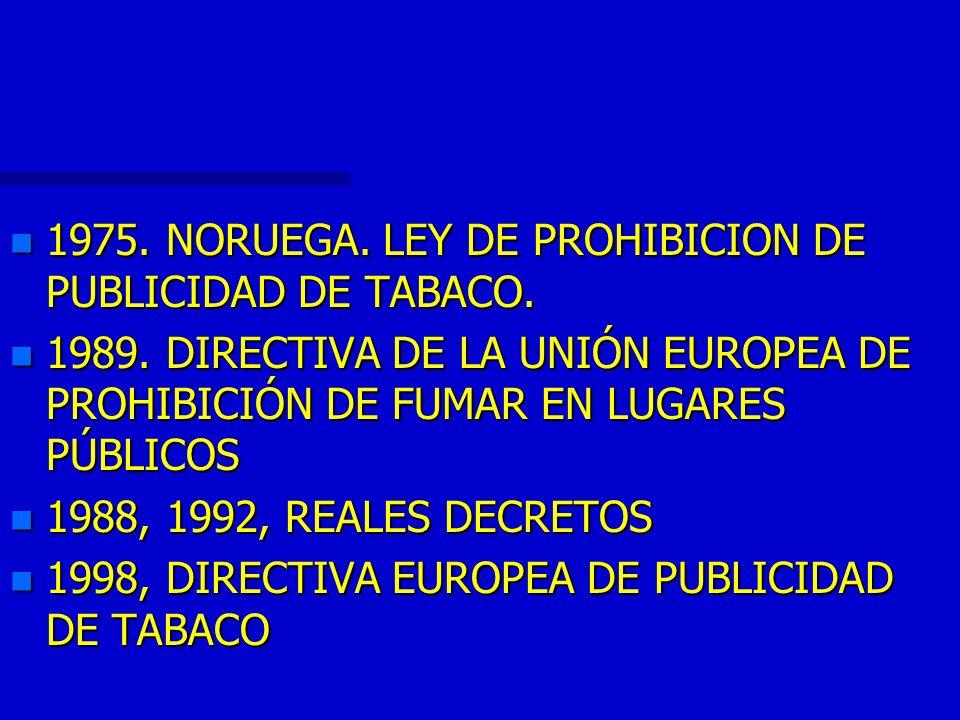 1975. NORUEGA. LEY DE PROHIBICION DE PUBLICIDAD DE TABACO.