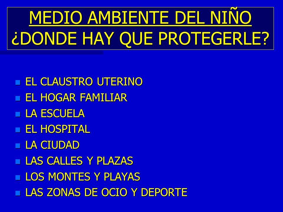 MEDIO AMBIENTE DEL NIÑO ¿DONDE HAY QUE PROTEGERLE