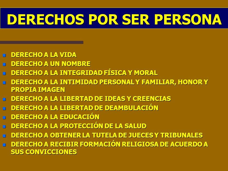 DERECHOS POR SER PERSONA