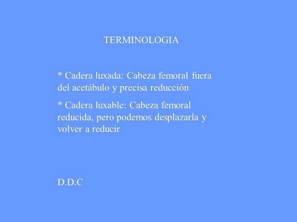 TERMINOLOGIA * Cadera luxada: Cabeza femoral fuera del acetábulo y precisa reducción.