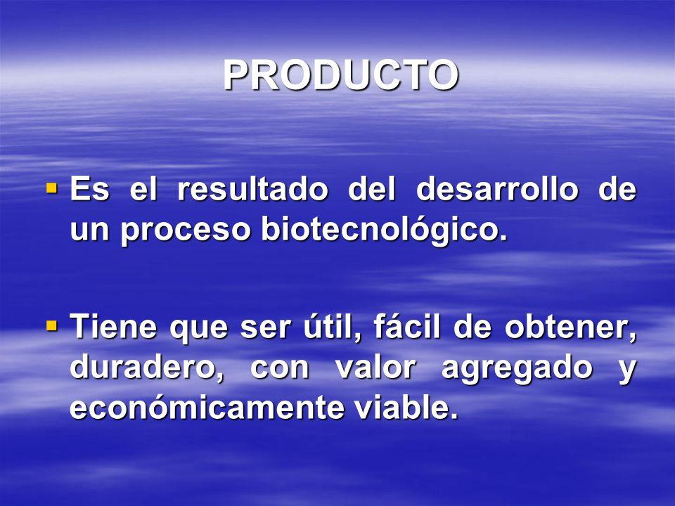 PRODUCTO Es el resultado del desarrollo de un proceso biotecnológico.