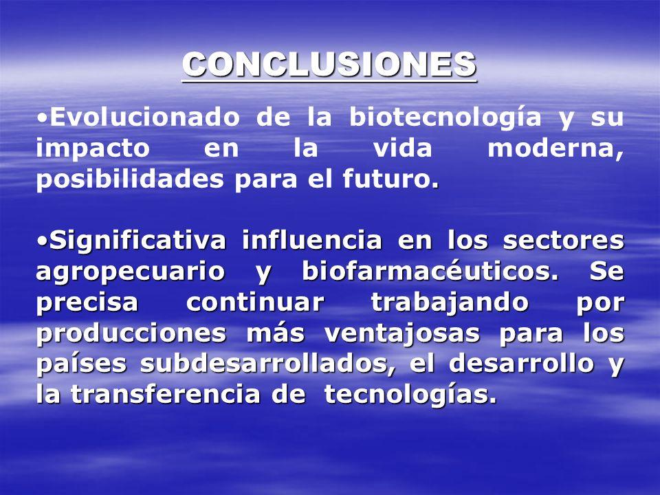 CONCLUSIONESEvolucionado de la biotecnología y su impacto en la vida moderna, posibilidades para el futuro.