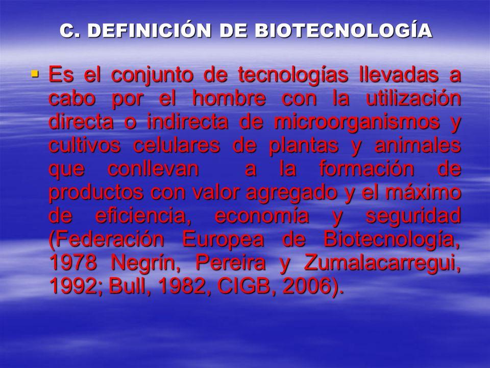 C. DEFINICIÓN DE BIOTECNOLOGÍA