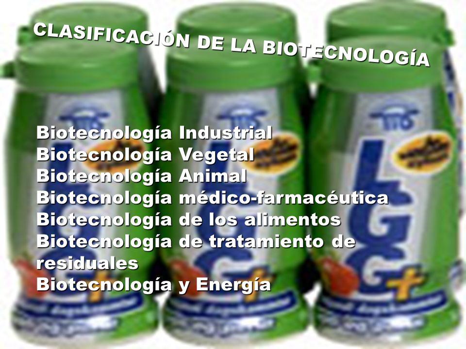 CLASIFICACIÓN DE LA BIOTECNOLOGÍA