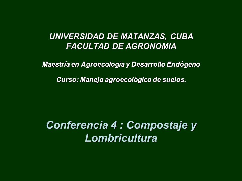 Conferencia 4 : Compostaje y Lombricultura