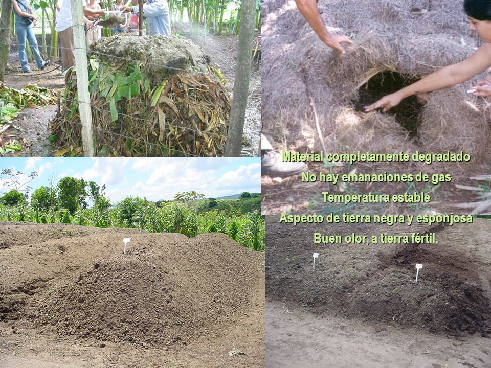 Material completamente degradado No hay emanaciones de gas