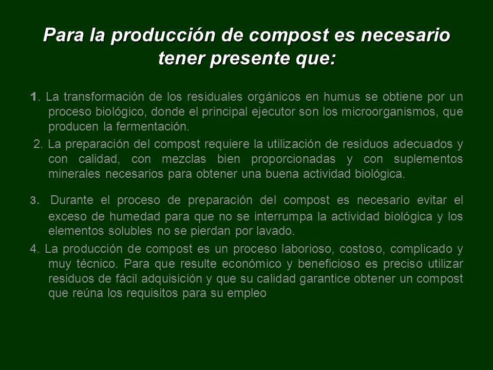Para la producción de compost es necesario tener presente que: