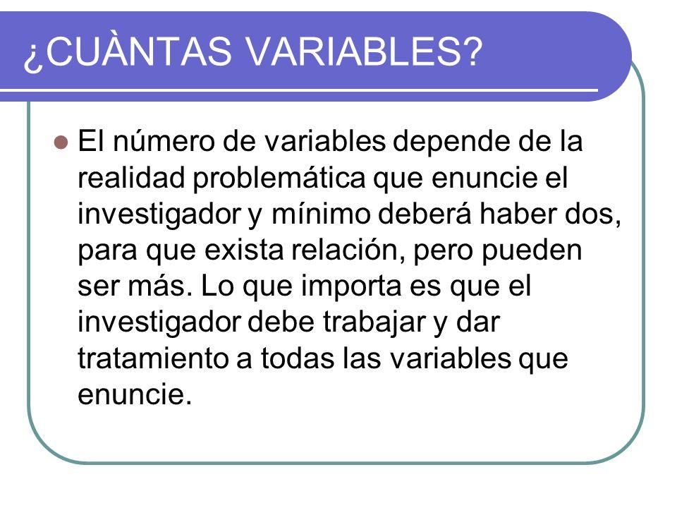 ¿CUÀNTAS VARIABLES