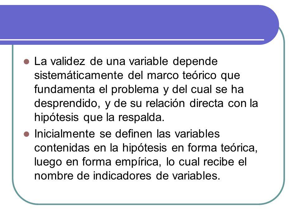 La validez de una variable depende sistemáticamente del marco teórico que fundamenta el problema y del cual se ha desprendido, y de su relación directa con la hipótesis que la respalda.