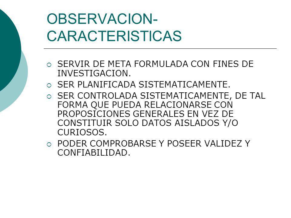 OBSERVACION- CARACTERISTICAS