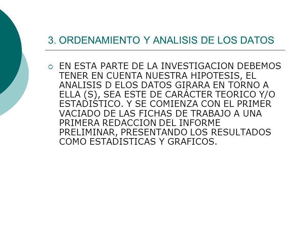 3. ORDENAMIENTO Y ANALISIS DE LOS DATOS