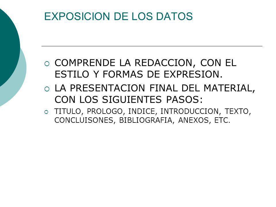EXPOSICION DE LOS DATOS