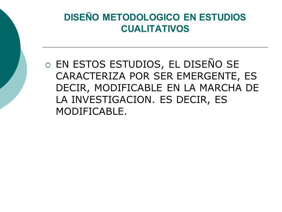 DISEÑO METODOLOGICO EN ESTUDIOS CUALITATIVOS