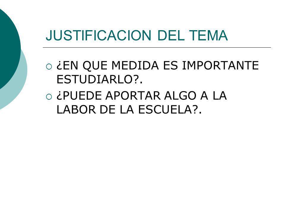 JUSTIFICACION DEL TEMA