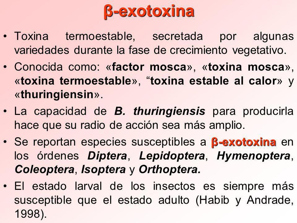 β-exotoxina Toxina termoestable, secretada por algunas variedades durante la fase de crecimiento vegetativo.