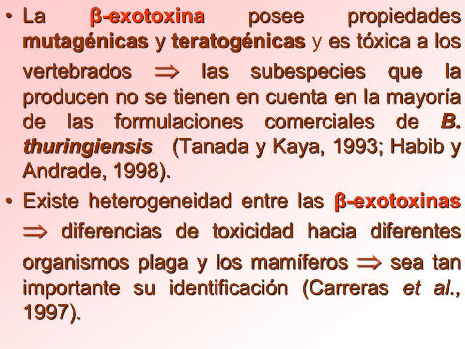 La β-exotoxina posee propiedades mutagénicas y teratogénicas y es tóxica a los vertebrados  las subespecies que la producen no se tienen en cuenta en la mayoría de las formulaciones comerciales de B. thuringiensis (Tanada y Kaya, 1993; Habib y Andrade, 1998).