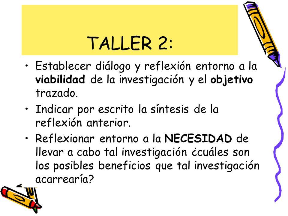 TALLER 2: Establecer diálogo y reflexión entorno a la viabilidad de la investigación y el objetivo trazado.