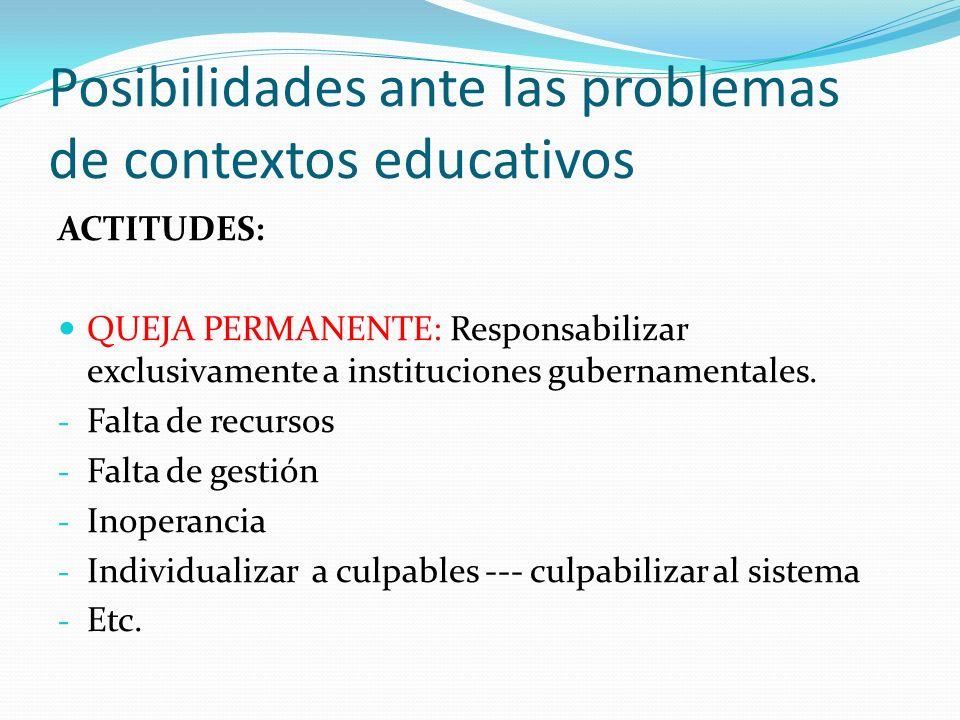 Posibilidades ante las problemas de contextos educativos