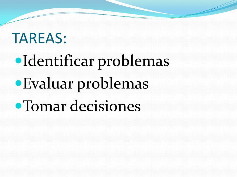 TAREAS: Identificar problemas Evaluar problemas Tomar decisiones