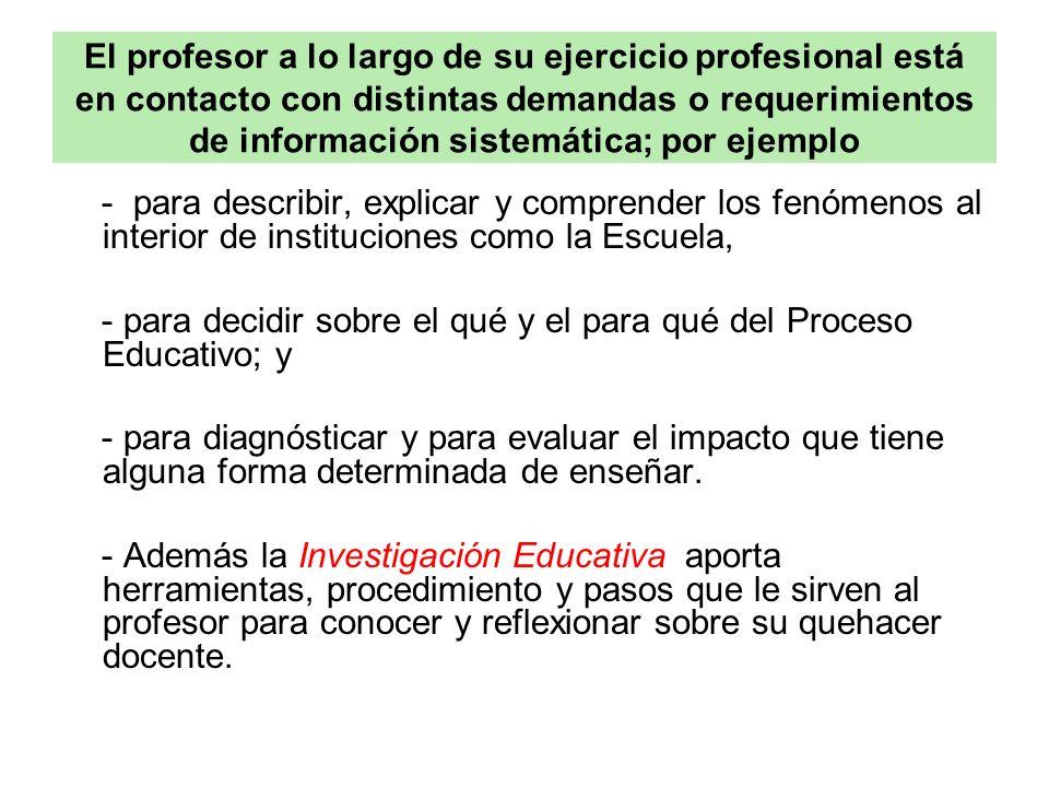 El profesor a lo largo de su ejercicio profesional está en contacto con distintas demandas o requerimientos de información sistemática; por ejemplo
