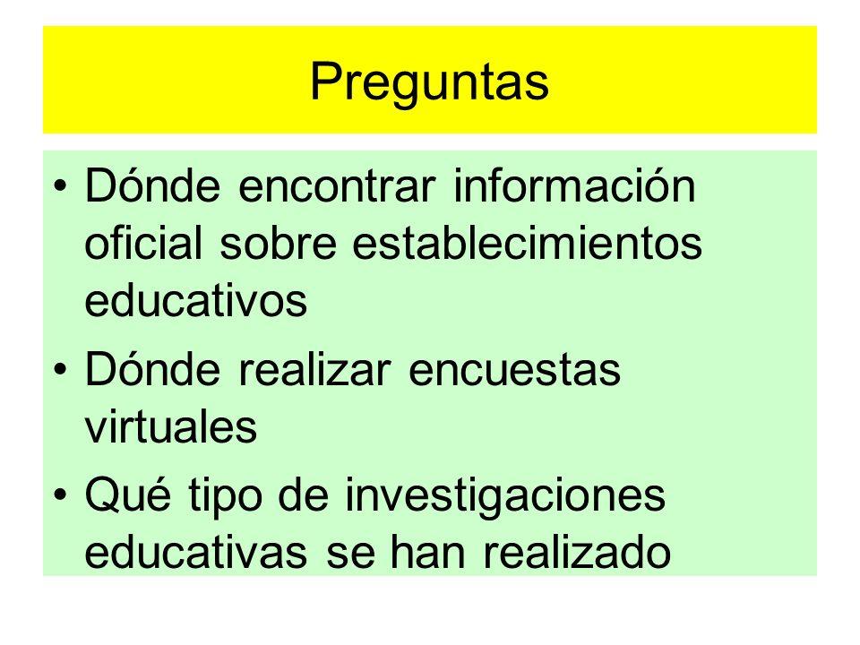 PreguntasDónde encontrar información oficial sobre establecimientos educativos. Dónde realizar encuestas virtuales.