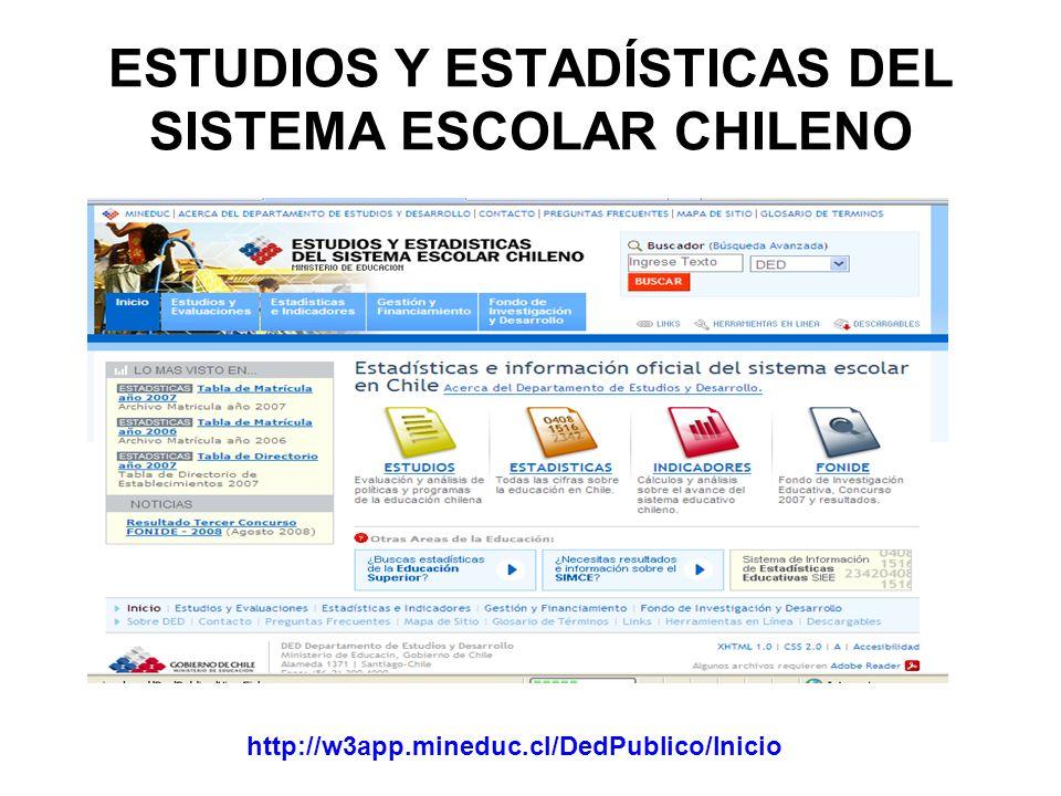 ESTUDIOS Y ESTADÍSTICAS DEL SISTEMA ESCOLAR CHILENO