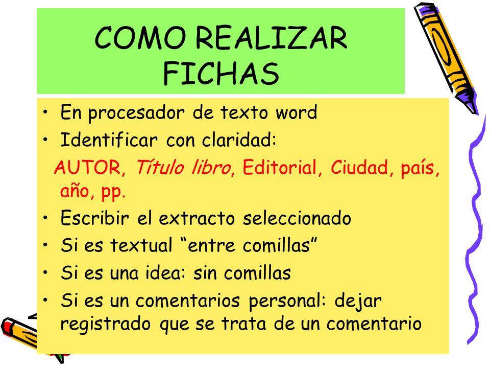 COMO REALIZAR FICHAS En procesador de texto word
