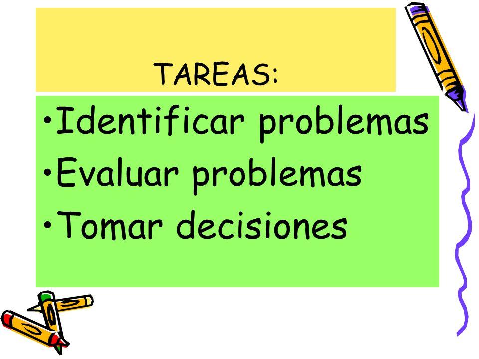Identificar problemas Evaluar problemas Tomar decisiones