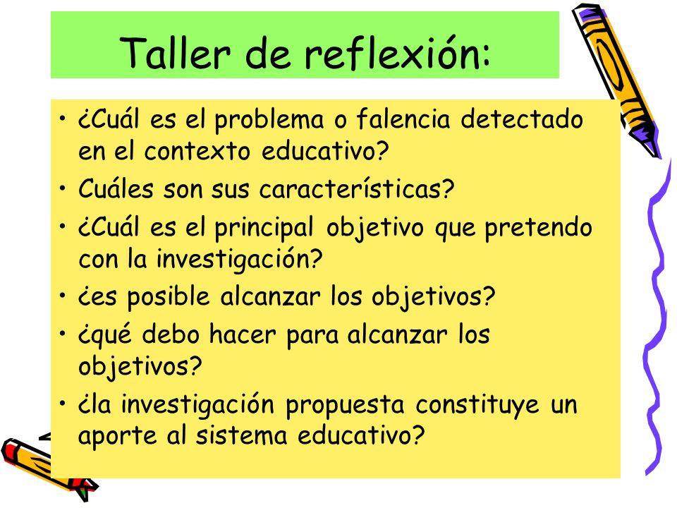 Taller de reflexión: ¿Cuál es el problema o falencia detectado en el contexto educativo Cuáles son sus características