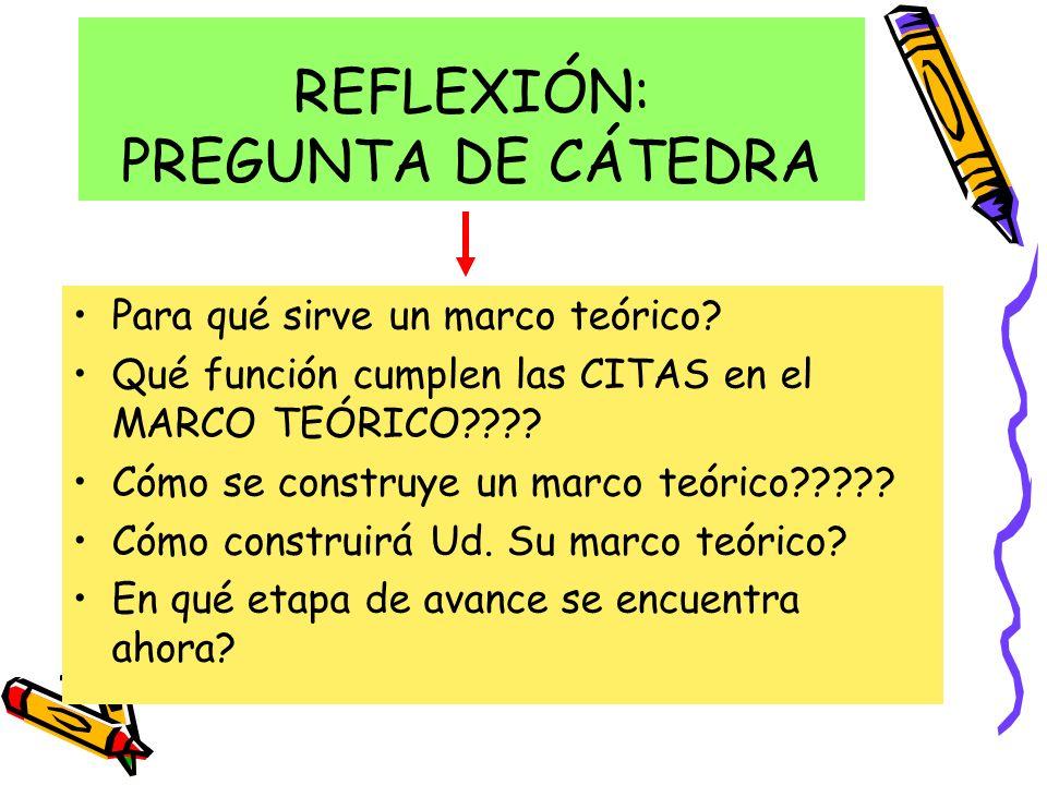 REFLEXIÓN: PREGUNTA DE CÁTEDRA